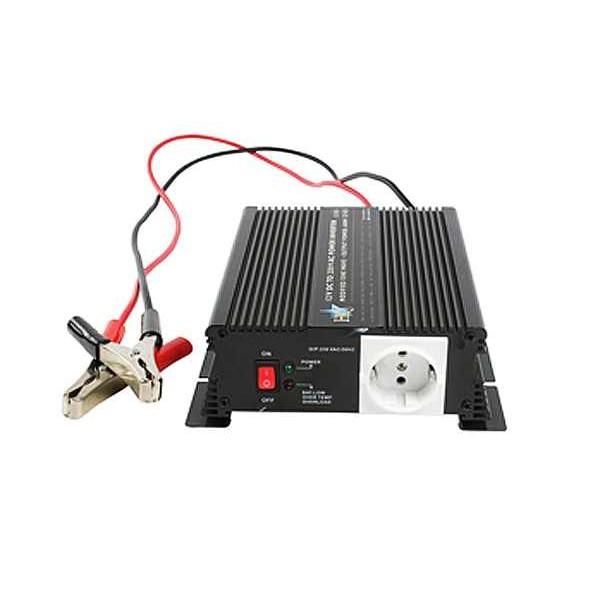 HQ 12 naar 230 volt omvormer met acculader en automaat, 600 watt
