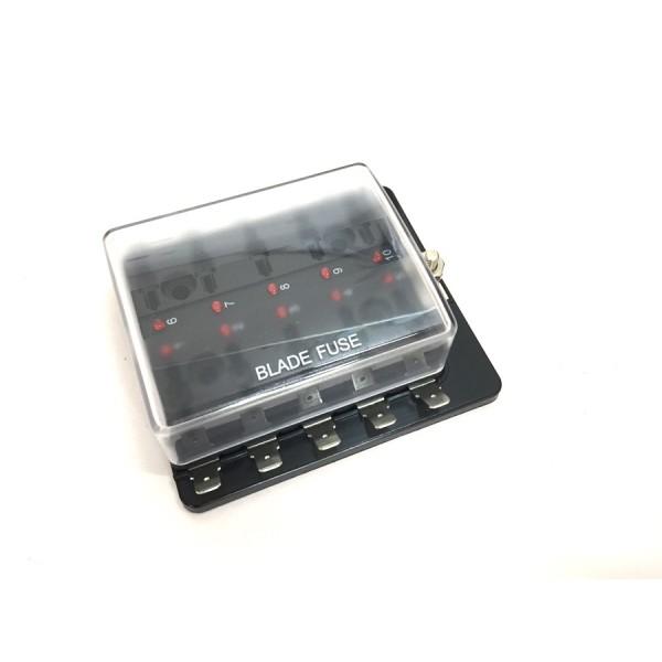 Steekzekeringhouder 10 voudig met afdekkap en controle LED