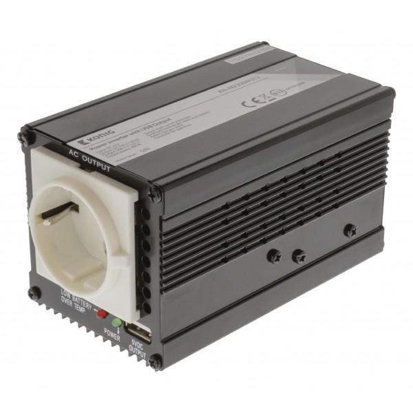 König 12 naar 230 volt omvormer met USB, 300 watt